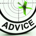 Advice target shows knowledge support and help showing assistance Stock Image