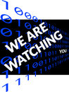 We ae watching you on black text about being watched background of binary digits one and zero Stock Photography