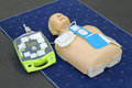 Aed dummy automated external defibrillator with training mannequin Stock Photos