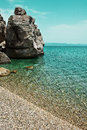 Aegean Sea, Chalkidiki, Kassandra. Landscape with coastal cliffs Royalty Free Stock Photo