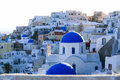 Aegean sea cycladic volcanic island of santorini located in the the greek part the cyclades islands is known as a top vacation Royalty Free Stock Images