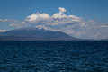 Aegean sea greece deep blue mediterranean in and a mountain in the background Royalty Free Stock Images