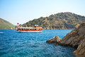 Aegean sea landscape with ship turkey marmaris Stock Photo