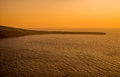 Aegean sea seen from oia in santorini at sunset Royalty Free Stock Photos