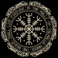 Aegishjalmur, Helm of awe helm of terror , Icelandic magical staves with scandinavian runes and dragons Royalty Free Stock Photo