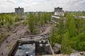 Aeiral view of Pripyat town in Chernobyl Exclusion Zone Royalty Free Stock Photo