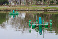 Aerators for fresh water floating in the water Royalty Free Stock Photos
