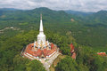 Aerial: Bang Riang Buddhist Temple. Popular Touristic Place in Phang Nga Province, Thailand.