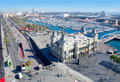 Aerial Barcelona port marina view in passeig Colon Royalty Free Stock Images