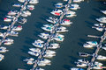 Aerial boats in harbor private on lake michigan photo Stock Image