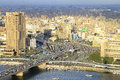 Aerial cairo egypt februar city from tower on februar city and bridge at river nile in egypt Stock Photo