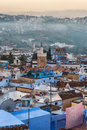 Aerial of chefchaouen in morocco view over early morning Stock Photos