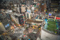 Aerial city view of shibuya crossing tokyo japan interesting perspective bustling with pedestrians and traffic in Royalty Free Stock Photography