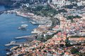Aerial cityscape from the port area of Funchal, Madeira Island, Portugal Royalty Free Stock Photo
