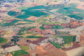 Aerial of countryside and fields around madrid Royalty Free Stock Photo