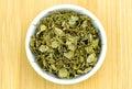 Aerial of dehydrated fenugreek methi herb detailed studio shot Royalty Free Stock Photo