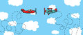 Aerial dogfight cartoon planes in battle or Royalty Free Stock Photography