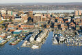 Aerial of downtown Portland Harbor and Portland Maine with view of Maine Medical Center, Commercial street, Old Port and Back Bay. Royalty Free Stock Photo