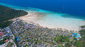 Aerial drone photo of iconic tropical beach and resorts of Phi Phi island Royalty Free Stock Photo