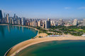 Aerial image north Avenue Beach Chicago Royalty Free Stock Photo
