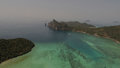 Aerial drone photo of sea and coastline from iconic tropical beach of Phi Phi island Royalty Free Stock Photo