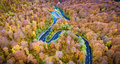 Aerial drone view of a curved winding road through the forest