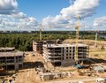 Construction site with crane and building. Aerial drone view Royalty Free Stock Photo