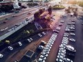 Aerial Drone View of Istanbul City Car Park and Highway. Filtered Magenta Filter Royalty Free Stock Photo