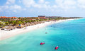 Aerial from Eagle beach on Aruba in the Caribbean Royalty Free Stock Photo
