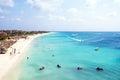 Aerial from Eagle beach on Aruba island Royalty Free Stock Photo