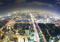 Aerial fisheye view of osaka in japan at night buildings Royalty Free Stock Images