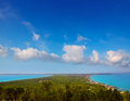 Aerial formentera view with north and south beach Royalty Free Stock Photography