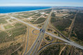 Aerial of freeway intersection in South Africa