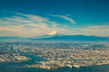 Aerial fuji mountain with tokyo cityscape view Royalty Free Stock Photo