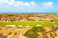 Aerial from a golf course on Aruba island Royalty Free Stock Photo