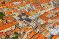 Aerial helicopter shoot of dubrovnik old town cathedral Royalty Free Stock Photography