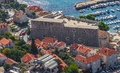 Aerial helicopter shoot of dubrovnik old town fortress revelin Stock Image