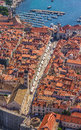 Aerial helicopter shoot of dubrovnik old town main street stradun placa full visible Stock Photos