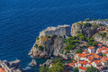 Aerial helicopter shoot of dubrovnik old town st lawrence fortress Royalty Free Stock Photo