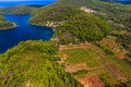 Aerial helicopter shoot of national park on island mljet dubrovnik archipelago croatia the oldest pine forest in europe preserved Stock Photos