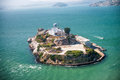 Aerial helicopter view of Alcatraz Island, San Francisco Royalty Free Stock Photo
