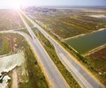 Aerial highways view of highway from plane Stock Photography