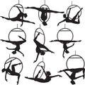 Aerial hoop acrobat set of woman silhouette Royalty Free Stock Photo