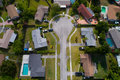 Aerial image of a cul-de-sac in a residential neighborhood Royalty Free Stock Photo
