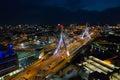 Aerial image Leonard P Zakim Bunker Hill Bridge at night Royalty Free Stock Photo