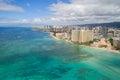 Aerial image Waikiki Beach Royalty Free Stock Photo