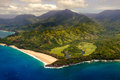 Aerial landscape view of shoreline at Na Pali coast, Kauai, Hawaii Royalty Free Stock Photo