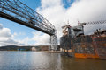 Aerial lift bridge large ship going under the duluth minnesota Royalty Free Stock Photography