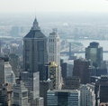 Aerial of Lower Manhattan buildings Stock Photos