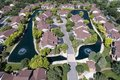 Aerial Luxury Townhouse Complex with Pond Royalty Free Stock Photo